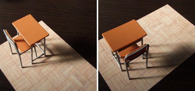 机の落ち影