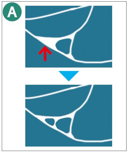 水の曲線部分の分割