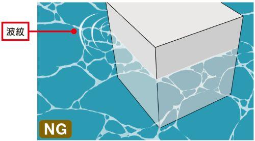 水面の模様と水面の波紋NG