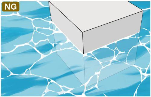 水面の凹凸を無視NG